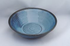 Stoneware pottery bowl, blue glaze with spiral finger marks - pinned by pin4etsy.com