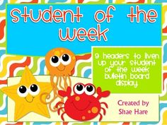 Under the Sea {Ocean} Student of the Week - Bulletin Board Display Use these 9 super-cute headings for your Student of the Week bulletin board display.   This adorable Under the Sea theme will liven up any classroom!   All 9 headers feature an adorable sea creature and an aspect of the special student to learn about.
