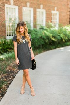 t-shirt dress, statement necklace and neutral heels