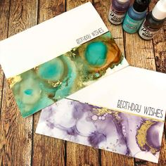 Alcohol inks Simple Birthday Cards, Alcohol Inks, My Stamp, Birthday Wishes, Handmade, Hand Made, Happy Birthday Celebration, Arm Work
