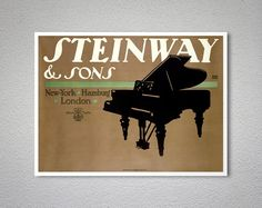 Steinway and Sons Vintage Music Poster - Poster Paper, Sticker or Canvas Print  For Bulk Orders (minimum order 30 items) please contact us.  WORLDWIDE SHIPPING!  Printed on high quality paper, cotton canvas or adhesive sticker paper. A high quality reproduction of vintage entertainment poster. Professional packaging for safe shipping. All images (dimensions) include a white border. (The white border can be removed. Please write a note when ordering.)  IMPORTANT: Final product sizes may vary…