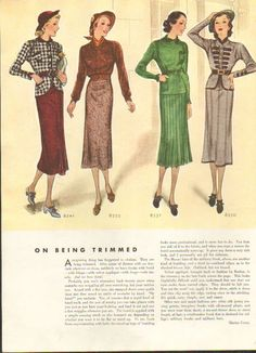 Four elegantly lovely 1930s autumn fashions. Nice work looks.