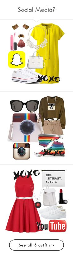 """""""Social Media📱"""" by theblondebabe ❤ liked on Polyvore featuring Lands' End, Dorothy Perkins, Converse, French Connection, MAC Cosmetics, Hollister Co., WithChic, Gentle Monster, Chi Chi and Vans"""