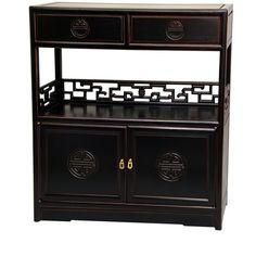Oriental Furniture Long Life Display Cabinet In Antique Black