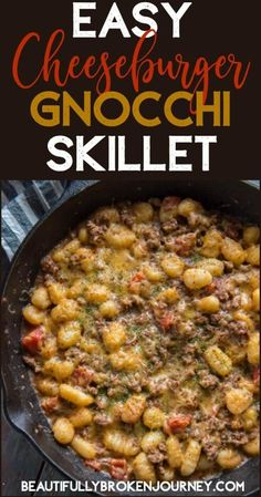 This easy and delicious cheeseburger gnocchi skillet is bursting with flavor! This easy and delicious cheeseburger gnocchi skillet is bursting with flavor! Entree Recipes, Dinner Recipes, Cooking Recipes, Healthy Recipes, Skinny Recipes, Ww Recipes, Pasta Recipes, Dinner Ideas, Breakfast
