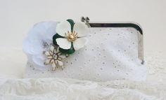 White Wedding Handbag / Bridal Clutch Purse / by PetiteVintageBags, $100.00