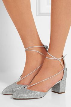 Heel measures approximately 50mm/ 2 inches Silver glittered leather Ties at ankle Made in Italy