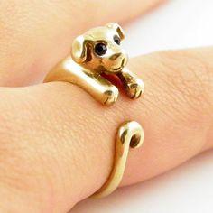 Animal Wrap RIng - Puppy - Yellow Bronze - Adjustable Ring - keja jewe – Keja Designs Jewelry
