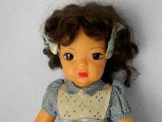 Vintage Terri Lee Doll Dark Brunette Hair Blue Dotted Swiss Dress Hard Plastic  #DollswithClothingAccessories Dark Brunette Hair, 1920s Art Deco, Doll Clothes, Athlete, Marble, Bronze, Base, Plastic, Statue