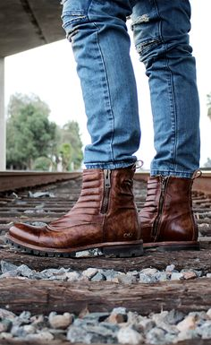 BEDSTU men's boot with dual zippers and a hand finished color. This brown moto boot is made with organic leather