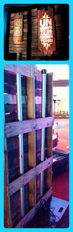Wooden Stage Decor from Lifeway's VBS Preview Event in Fort Worth, TX. The bottom picture shows it from the back side.  (Image Only)  Journey off the Map VBS 2015