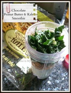 Healthy Chocolate Peanut Butter Smoothie with Kale! Just 260 Calories! Visit naptimeismytime.com for the recipe!