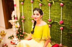 Pretty lime green & yellow cape sleeved blouse for a simple pre wedding function! Bridal Outfits, Bridal Dresses, Mehndi Function, Function Dresses, Mehndi Outfit, Haldi Ceremony, Wedding Function, Wedding Stage, Wedding Goals