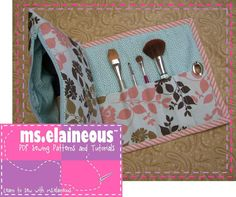 Cosmetic Bag with Brush Roll pattern on Craftsy.com