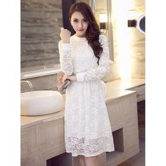 Wholesale Long Sleeve Floral Lace Dress In White | TrendsGal.com