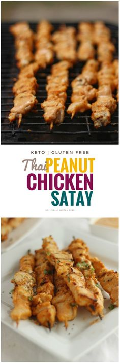 This Gluten Free & Keto Peanut Chicken Satay Recipe Makes the Most Delicious Chicken Skewers Smothered in a Sweet and Spicy Thai Peanut Sauce. Peanut Chicken, Chicken Satay, Chicken Skewers, Keto Chicken, Yum Yum Chicken, Chicken Recipes, Bbq Skewers, Chicken Ideas, Turkey Recipes