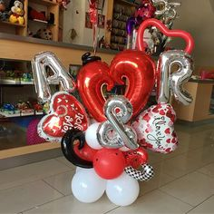 A&R ✨❤️ Encarga tu Bouquet con tus iniciales y las de tu pareja Para sorprenderl@ este 14 de febrero #JoliandGift Baby Shower Balloon Decorations, Baby Shower Balloons, Birthday Party Decorations, Balloon Ideas, Valentines Balloons, Birthday Balloons, Balloon Gift, Balloon Garland, Valentine Bouquet