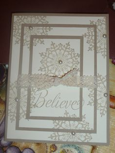 Another triple time snowflake card with lace and pearls.