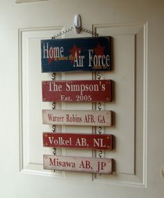 Military Family/Duty Station Signs, by Wordboards on Etsy.