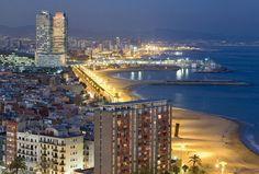 La Barceloneta ... sea front stretches along Passeig Marítim ... in Barcelona, Spain