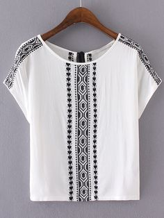 White Embroidery Key-hole Tassel Back Blouse -SheIn(abaday)