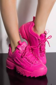 Front view fila womens disruptor ii in fuchsia hot pink in fuchsia hot pink Hot Pink Shoes, Pink Nike Shoes, Fresh Shoes, Pink Nikes, Pink High Heels, Cute Sneakers, Sneakers Mode, Pink Sneakers, Sneakers Fashion
