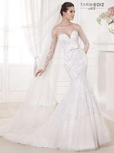 tarik-ediz-wedding-dresses- heart shaped neckline, bow, sheer sleeves and illusion neckline, branch details