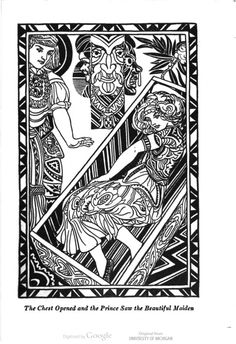 """""""The chest opened, and the Prince saw the beautiful maiden."""" The Laughing Prince: a Book of Jugoslav Fairy Tales, written by Parker Fillmore, illustrated by Jay Van Everen."""