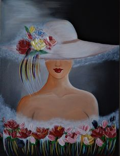 Saatchi Art: Lady in Hat Painting by Angela Alec leinwand Art Pictures, Art Images, Acrylic Painting Canvas, Canvas Art, Art Sketches, Art Drawings, Face Art, Beautiful Paintings, Painting & Drawing