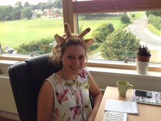 Abbie is getting into the spirit of Green Umbrella Social Media for Business now and is wearing the giraffe ears.