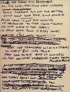 In My Life: handwritten lyrics, by John Lennon
