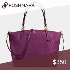"Coach purse KELSEY SATCHEL IN PEBBLE LEATHER WAS $395.00 Pebble leather Inside zip, cell phone and multifunction pockets Zip-top closure, fabric lining Handles with 8"" drop Longer strap with 19 1/2"" drop for shoulder or crossbody wear 15 3/4"" (L) x 11"" (H) x 4 1/2"" (W) COLOR: IMITATION GOLD/PLUM Coach Bags Satchels"
