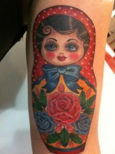 :: Matryoshka :: love the polka dot, hair curls, & girly facial details.  they make this tattoo stand out from the Russian nesting dolls.