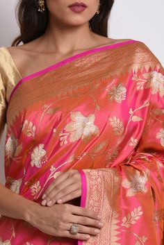 Pink-Orange Shot Banarasi Zari Meenakari Saree