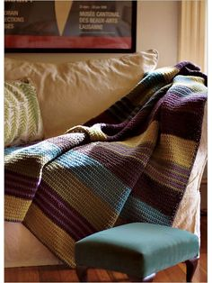 I love the stripes in this single crochet afghan! This would be a breat way to use up a variety of yarns you only have a few skeins of. City Stripes - Interweave