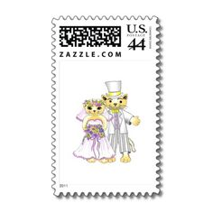 Design your postage stamps: Cat bride and groom postage stamp.
