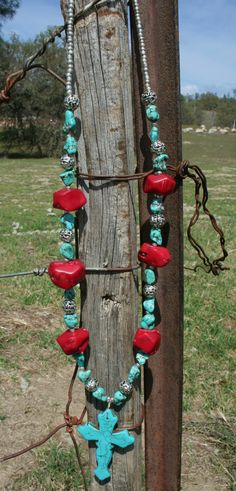Western Cross with Chunky Turquoise and Coral by WesternSunset, $35.00