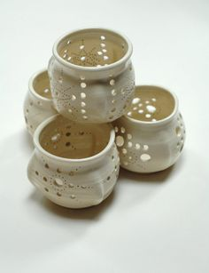 White patio lanternpottery patio lightporch tea by Emburr on Etsy, $25.00