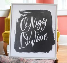 Black Art - O Night Divine abstract canvas art from Lindsay Letters.