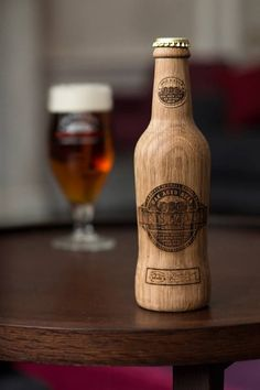 This wooden bottle look is very unique! I would want to try it just because it is so different. They made a good design decision when giving the label an etched or burned look.