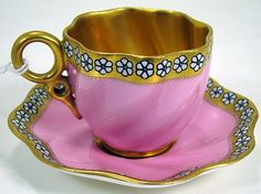 ENAMELED COALPORT DEMI CUP AND SAUCER #Teacupandsaucer