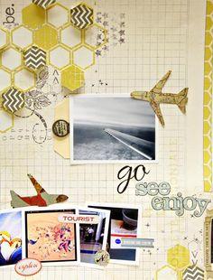 Scrapbook inspiration: honeycomb pattern cuteness. Travel-themed. Love, love, love the airplane embelli.