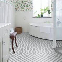 Geometric Grey and White Cushion Vinyl Flooring Sheet Lino - Cairo 02 - Multiple Sizes Available x Bathroom Lino Floor, Vinyl Flooring Bathroom, Bathroom Vinyl, Kitchen Vinyl, Vinyl Tiles, Bathroom Ideas, Adhesive Floor Tiles, Bathroom Styling, Bathroom Renovations