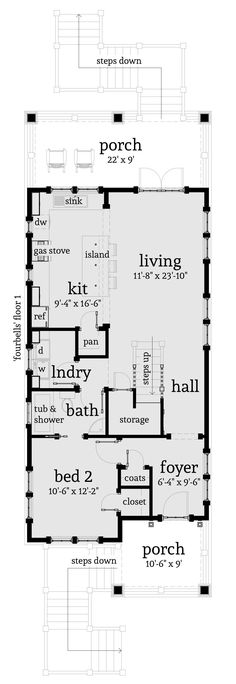 Main floor plan for s 727 6 plex house plans narrow row 4 plex plans narrow lot