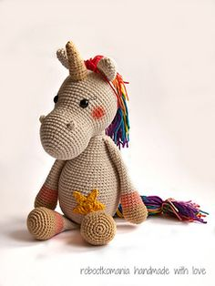 Emmy Unicorn belongs to amigurumi collection and is for free. To make all stuff you need to get Horse Piem - as a Emmi Unicorn, available in two languages - Crochet Pony, Crochet Horse, Crochet Birds, Cute Crochet, Crochet Animals, Amigurumi Patterns, Amigurumi Doll, Crochet Patterns, Crochet Turtle Pattern
