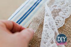Attaching lace to burlap...gotta make an aisle runner