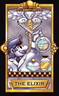 Dr Mario, The Elixir card. Special shout out to , hope your dad has a speedy recovery. ============================= For more Super Smash Tarot Cards, please this deck for updates!...