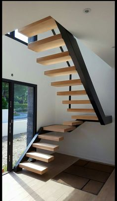 Home design ideas floor plans stairs 32 Ideas Flooring For Stairs, Wood Stairs, House Stairs, Building Stairs, Metal Building Homes, Building A House, Building Ideas, Pole Barn House Plans, Stair Handrail