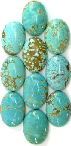 RARE Number 8 Turquoise 18x25mm Oval Cabochons