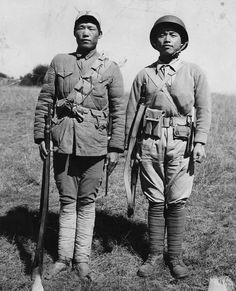 On left, soldier from the Chinese expeditionary Force (CEF) clearing Burma Road of enemy Japanese force from Salween River in Burma to China and American-trained and equipped Chinese infantryman, clearing Stilwell Road from Ledo, India to Salween River, both veterans of the Burma campaign stand side by side at opening of Ledo India to Kunming China Road. Photographer Raczkowski